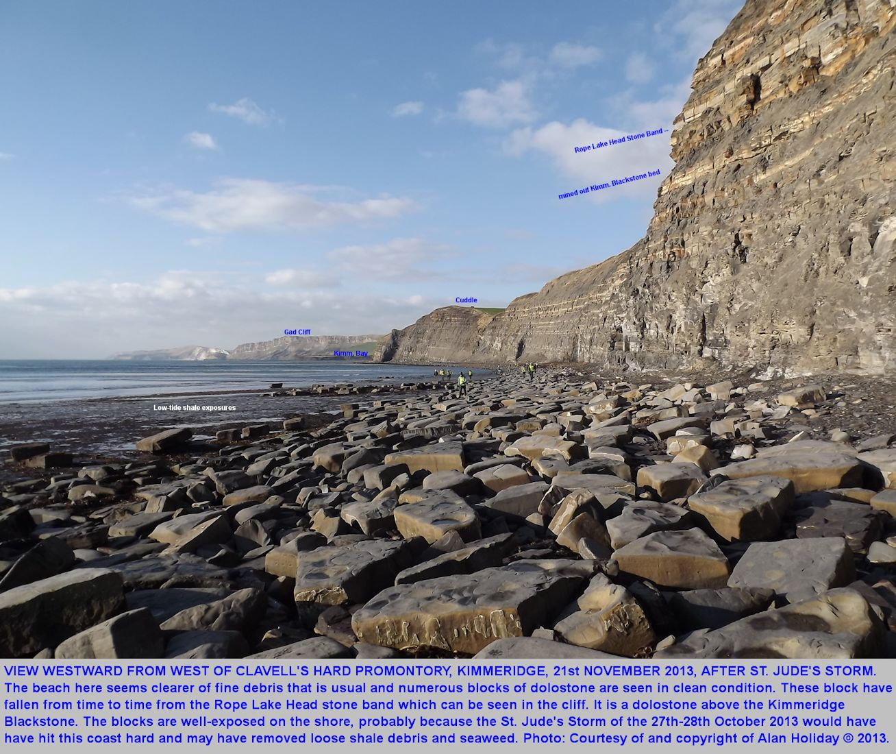 The coast immediately west of Clavell's Hard, view westward, showing fallen blocks that have come from the Rope Lake Stone Band, which is above the position of worked-out Blackstone, oil shale, in the cliff,  Kimmeridge Bay, Dorset, photograph by Alan Holiday, 21st November 2013, at low tide