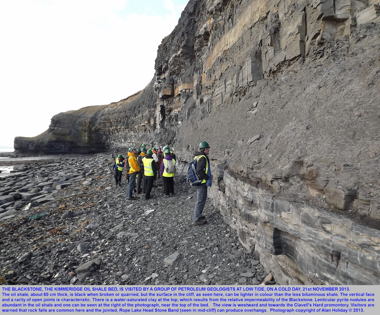 A group of petroleum geologists visits the Kimmeridge Blackstone or oil shale, east of Clavell's Hard, Kimmeridge, Dorset, 21st November 2013