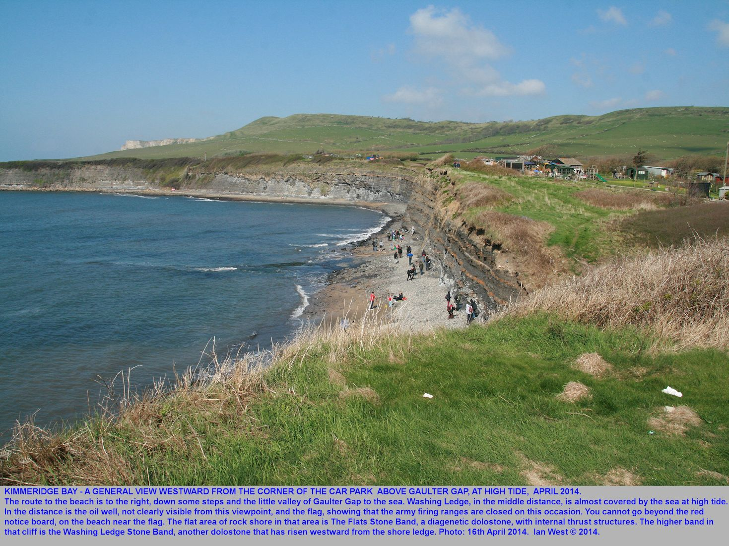 Above Gaulter Gap looking westward in Kimmeridge Bay, Dorset, at high tide, 16th April 2014