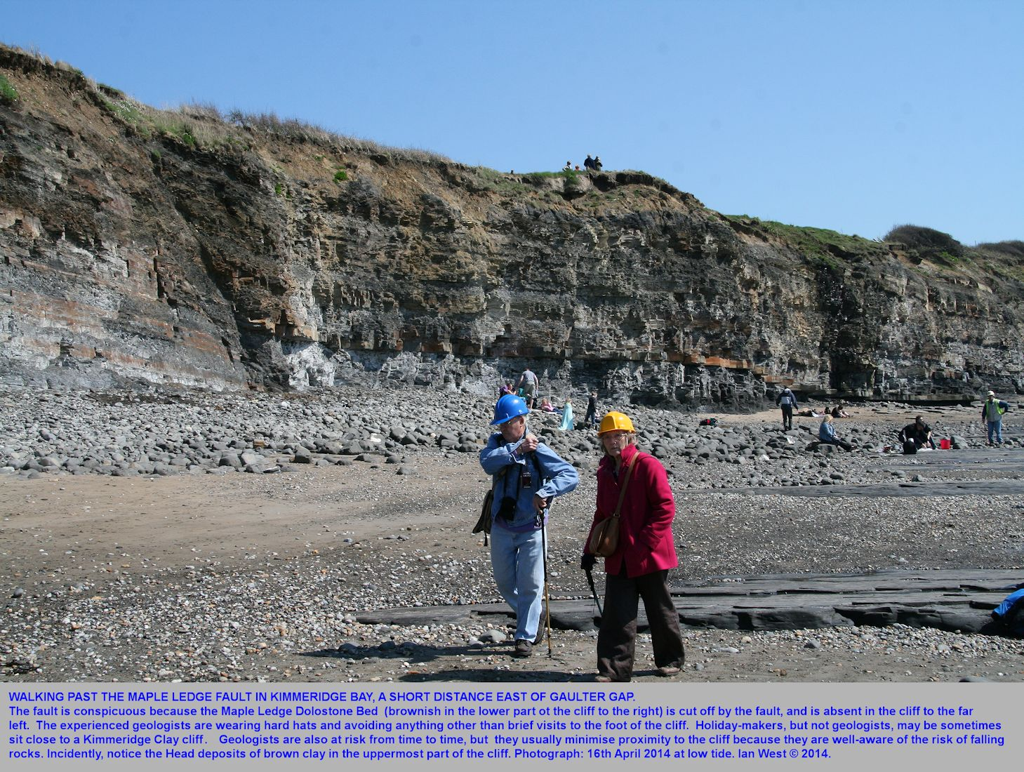 Geologists walk past the Maple Ledge Fault in Kimmeridge Bay, Dorset, taking the precaution of wearing hard hats, although the risk is very low except close to the cliff