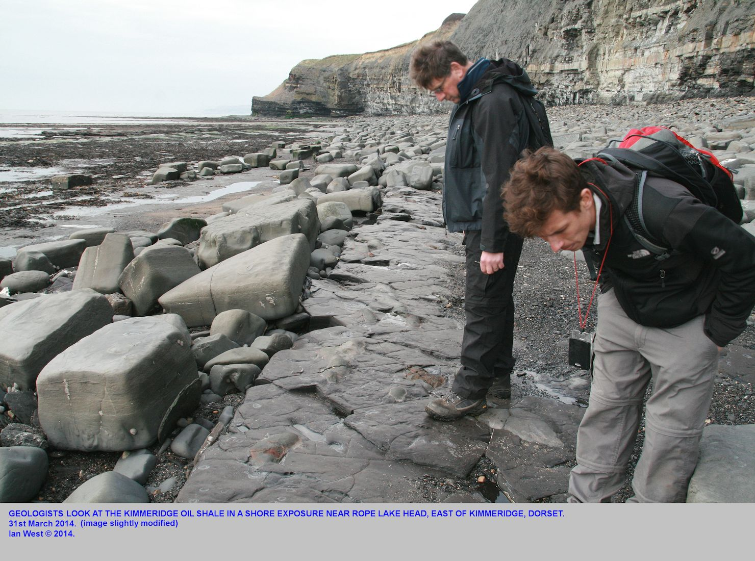 Geologists examine the shore exposure of the Kimmeridge oil shale or Blackstone, near Rope Lake Head, east of  Kimmeridge Bay, Dorset, 31st March 2014