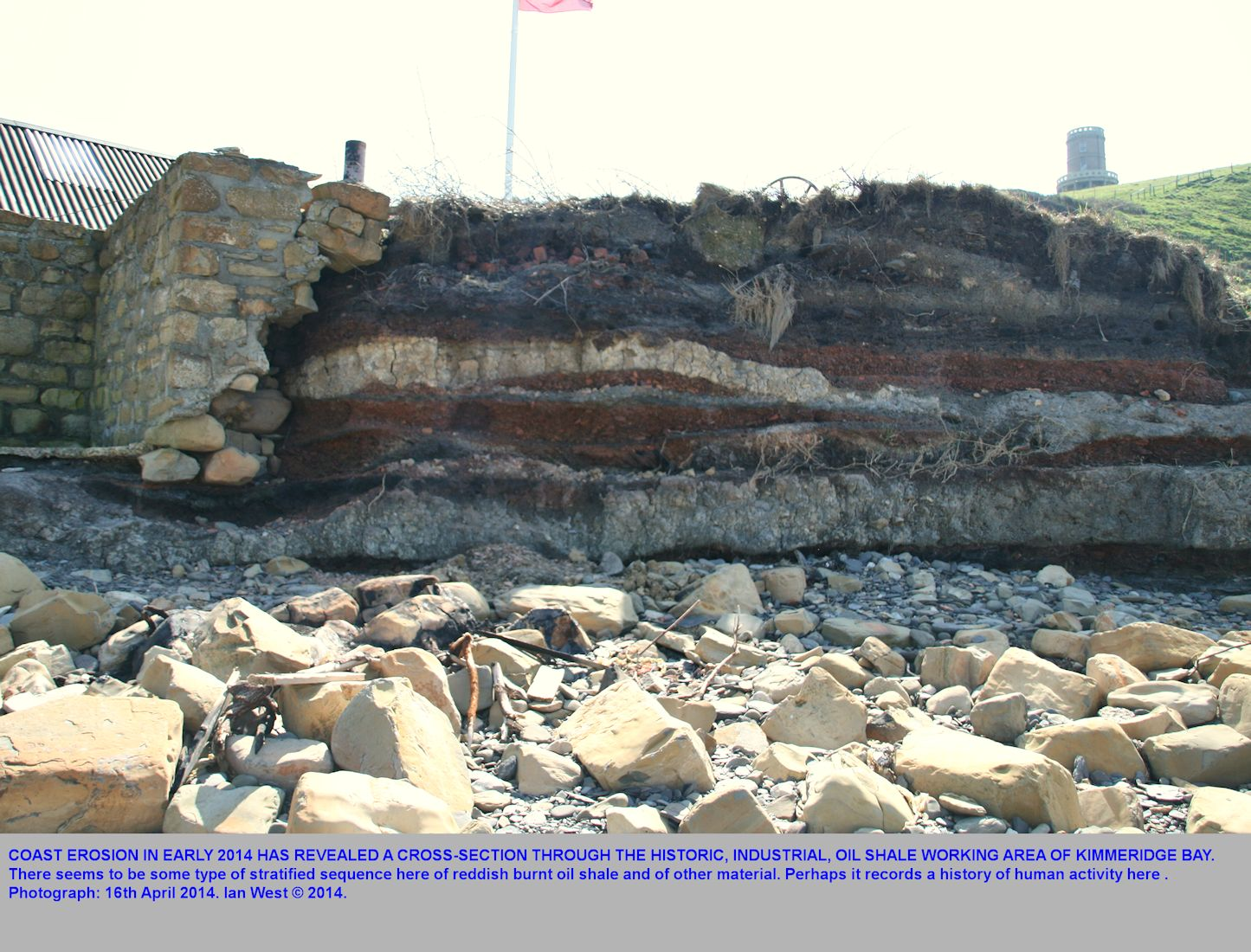Erosion at the former industrial port of eastern Kimmeridge Bay, Dorset, has shown a stratified sequence, including burnt shale, 16th April 2014