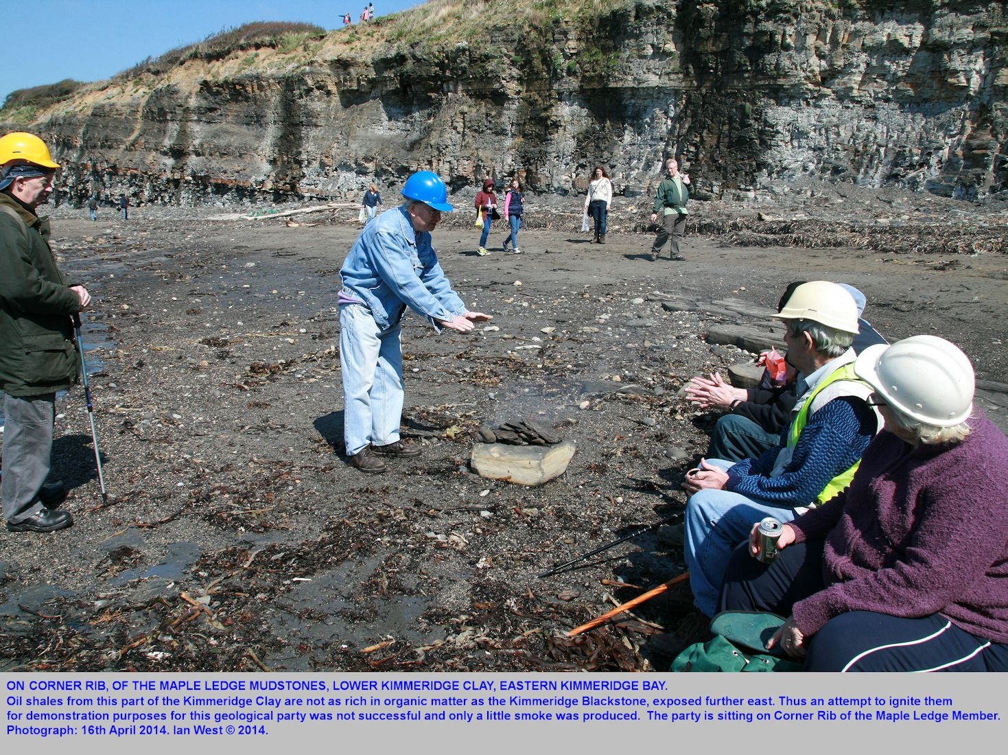 A lunch break for a field part at the eastern end of Kimmeridge Bay, Dorset, with some members sitting on Corner Rib, in the Maple Ledge Mudstone Member, 16th April 2014