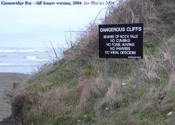 Dangerous cliffs sign at  Kimmeridge Bay, Dorset