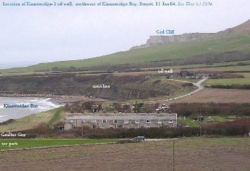 Location of oil well and Gaulter Gap at Kimmeridge Bay, Dorset