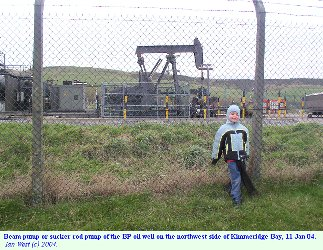 Oil well at Kimmeridge Bay, Dorset, as seen outside the fence