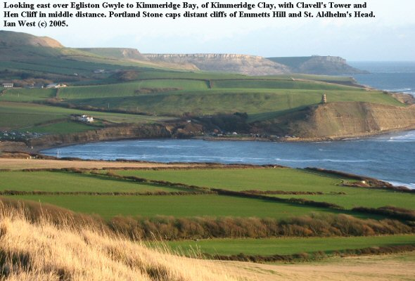 Kimmeridge Bay, Dorset, seen from across Egliston Gwyle. View eastward