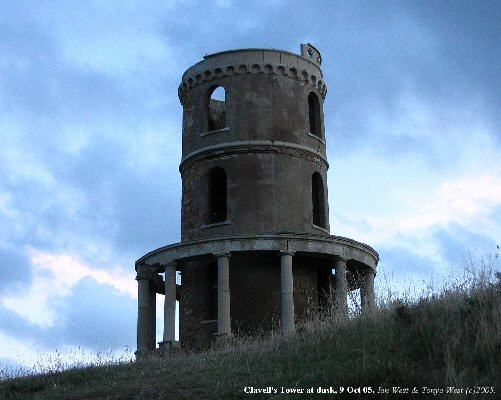 Clavell's Tower at Kimmeridge Bay, Dorset, seen at dusk, 9 Oct 2005