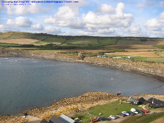 A general view of Kimmeridge Bay, Dorset at high tide, as seen from near Clavell's Tower, 9 Oct 2005