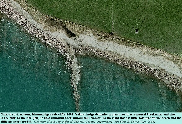 Aerial view of Yellow Ledge, east of  Kimmeridge Bay, Dorset, showing the effects of natural rock armour in front of shale cliffs