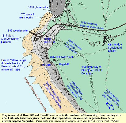 Map showing Relics of oil shale industry at the southeastern corner of Kimmeridge Bay and near Hen Cliff and Clavell Tower