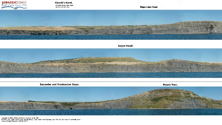 A low-resolution version of one group of a continuous set of photographs taken from the sea by Richard Edmonds of the Jurassic Coast organisation, Dorset. The Kimmeridge cliffs from Clavell's Hard to Chapmans Pool are shown