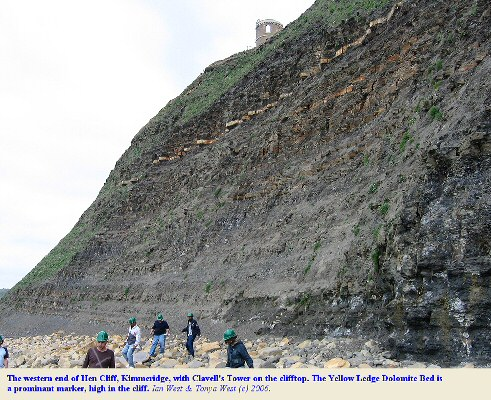 The foot of Hen Cliff, Kimmeridge, at its western end with Clavell's Tower above