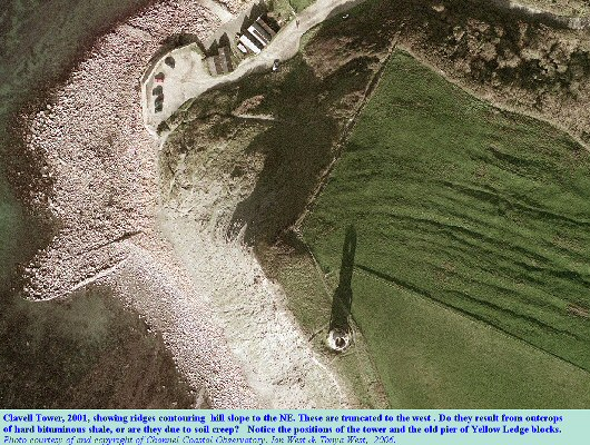 The old shale tips at at the southeast corner of Kimmeridge Bay, with Clavell Tower,  aerial photo 2001 by Channel Coastal Observatory