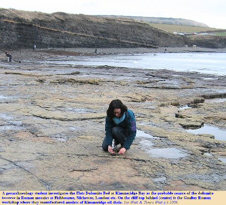 A geoarchaeology student investigates the Flats as a probable source of dolomite tesserae, used by the Romans, Kimmeridge Bay, Dorset