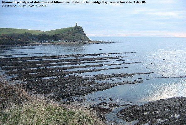 Kimmeridge ledges of dolomite and bituminous shale of the Lower Kimmeridge Clay in Kimmeridge Bay, Dorset, low tide