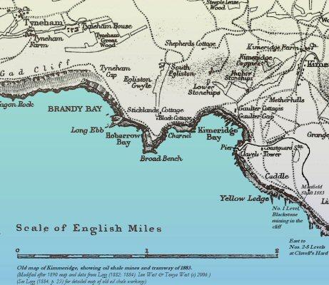 Old topographic map of the area around Kimmeridge Bay, Dorset, 1890