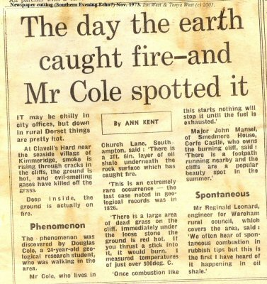 Newspaper report of oil shale fire at Clavell's Hard, Kimmeridge, Dorset, November 1974