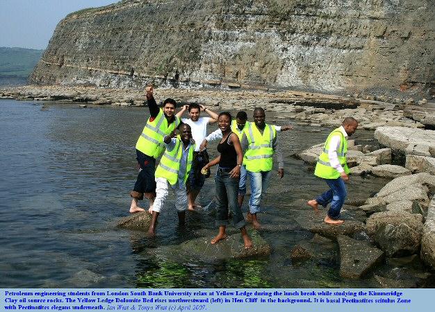Petroleum engineering students at Yellow Ledge, east of Kimmeridge Bay, Dorset
