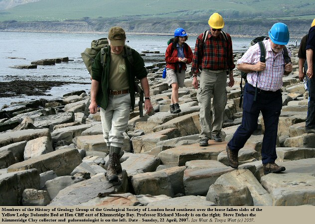 A History of Geology Group heads out southeast from Kimmeridge Bay, Dorset, towards the oil shale outcrop at Clavell's Hard, 2007