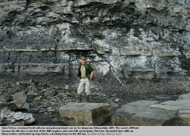Steve Etches the well-known collector and palaeontologist of the Kimmeridge Clay, Dorset, UK