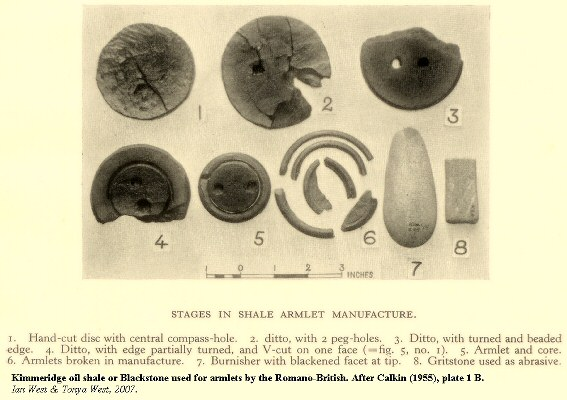 Stages in the manufacture of armlets by the Romano-British at Kimmeridge, Dorset
