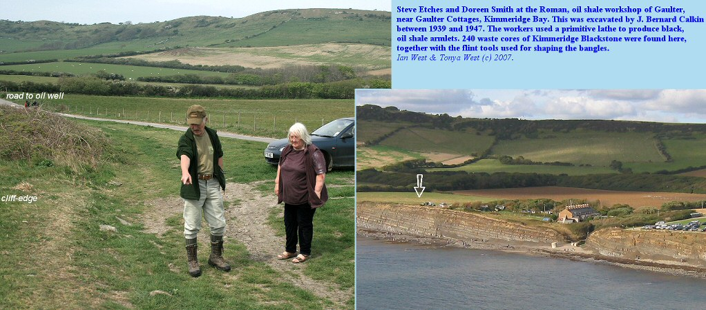 The site of the Roman oil shale workshop just to the west of Gaulter Cottages, Kimmeridge Bay, Dorset