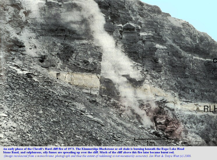 The Kimmeridge oil shale fire in the cliff above the Clavell's Hard mining ledge, east of Kimmeridge, Dorset, in 1973