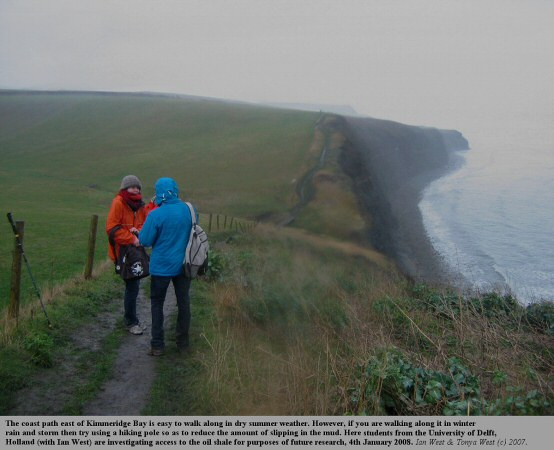 The cliff top path east of Kimmeridge Bay, Dorset, is slippery in rain and storm, photo 4th January 2008