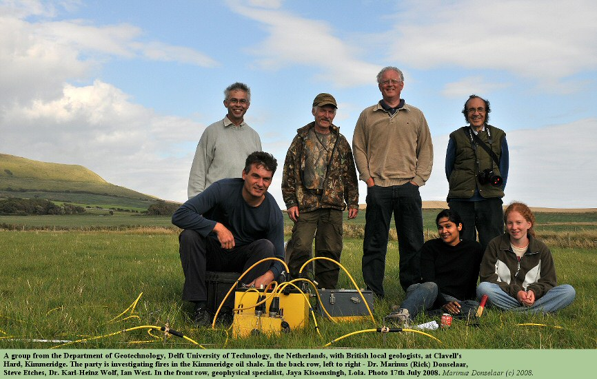 A group from Delft University of Geotechnology, the Netherlands, are ready to make an electrical resistance investigation of the Kimmeridge oil shale in a meadow, northwest of Clavell's Hard, Kimmeridge, Dorset, 17th July 2008