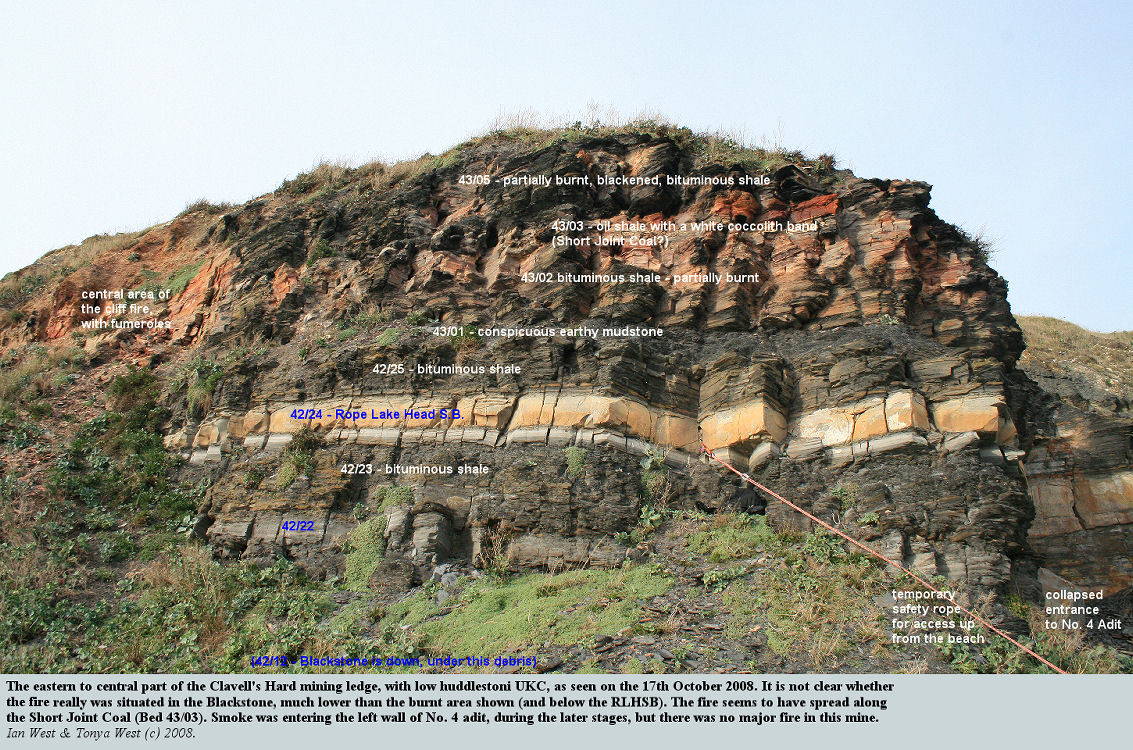The eastern part of the Clavell's Hard mining ledge, with evidence of the cliff fire, east of Kimmeridge Bay, Dorset, 17th October 2008
