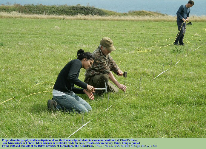 Jaya Kisoensingh and Steve Etches hammer in electrodes in preparation  for an electrical resistance survey in a meadow northwest of Clavell's Hard, Kimmeridge, Dorset, 17th July 2008