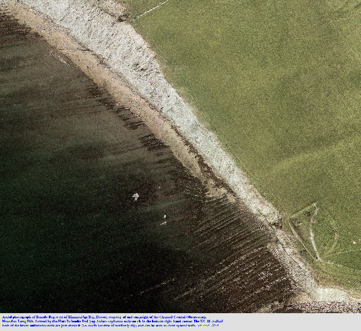 Large scale, aerial photograph of Brandy Bay, immediately north of Long Ebb, Kimmeridge, Dorset - unlabelled version