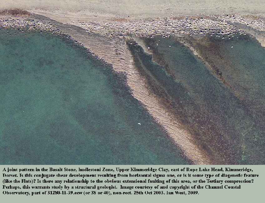 Jointing pattern seen in the dolomite bed known as the Basalt Stone, Rope Lake Hole, east of Kimmeridge, Dorset, aerial photo of the Channel Coastal Observatory, 2003
