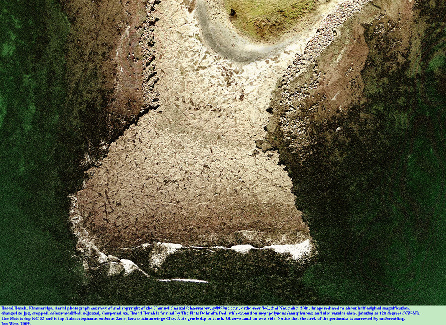 An aerial view of the Flats Dolomite Bed at Broad Bench, Kimmeridge, Dorset, in 2001, courtesy of the Channel Coastal Observatory