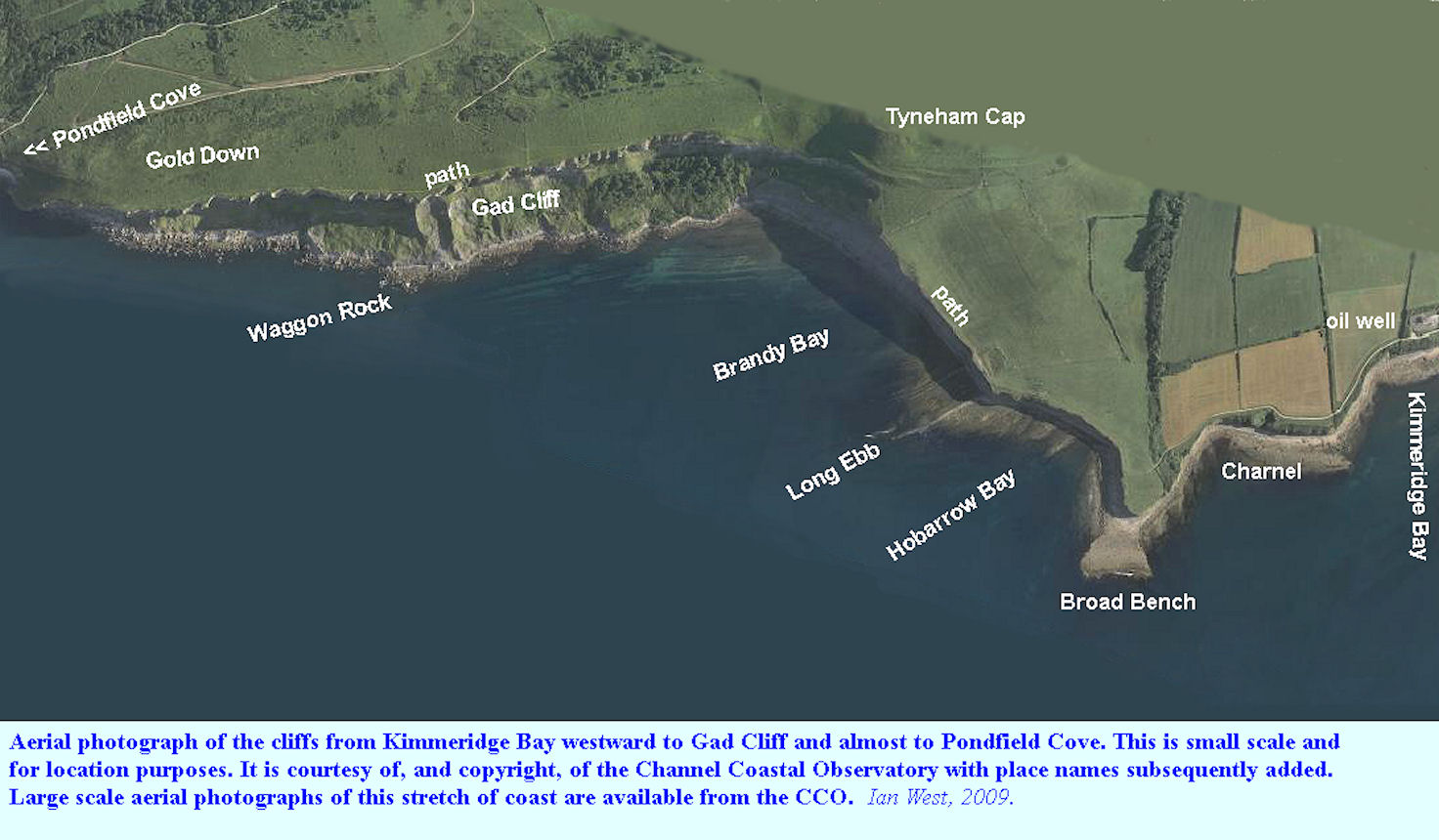 A small-scale, location aerial photograph of the cliffs west of Kimmeridge Bay, Dorset, to Gad Cliff