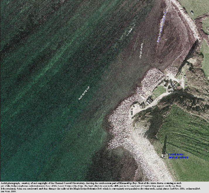 Aerial view, by the Channel Coastal Observatory, of southeast Kimmeridge Bay, Dorset, showing reefs of Lower Kimmeridge Clay