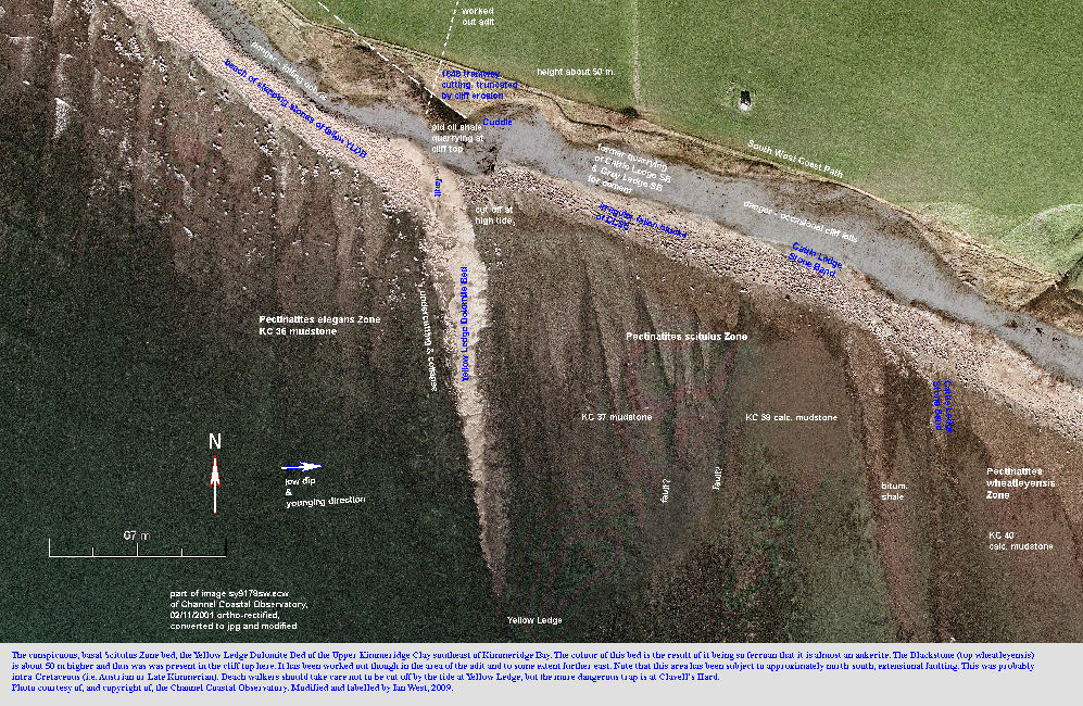 A labelled aerial photograph of Yellow Ledge, southeast of Kimmeridge Bay, Dorset, 2001, courtesy of the Channel Coastal Observatory