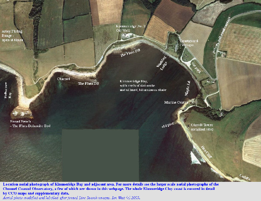 A general aerial photograph overview of Kimmeridge Bay, Dorset, for location purposes