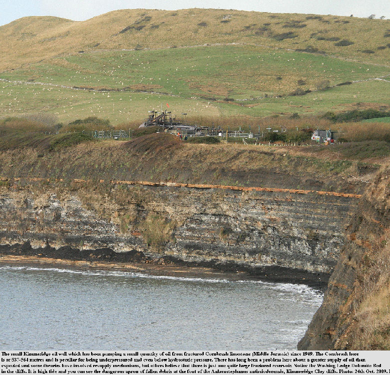 The Kimmeridge No. 1 Oil Well, of BP, at Kimmeridge Bay, Dorset, seen from the cliffs, 23rd October 2009