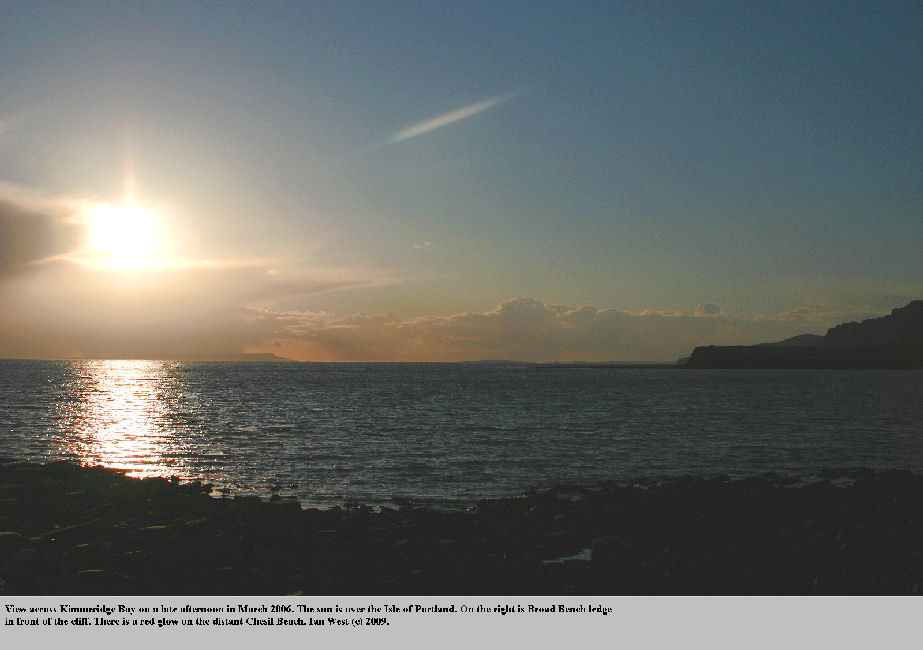 A low sun over the Isle of Portland as seen across and beyond Kimmeridge Bay, Dorset, March 2006