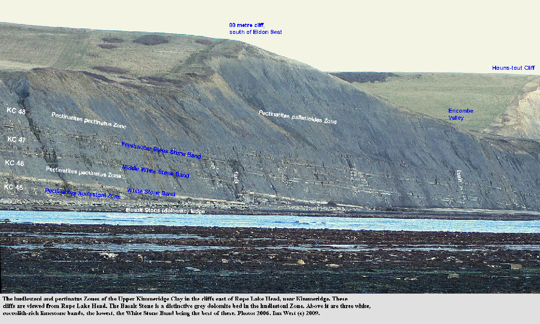A labelled view of the cliff east of Rope Lake Head, near  Kimmeridge, Dorset, 2006, showing the Basalt Stone and the White Stone Bands