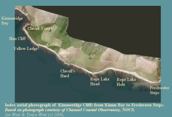 Aerial photograph index map for Kimmeridge Bay to Freshwater Steps, Dorset, based on a Channel Coastal Observatory image