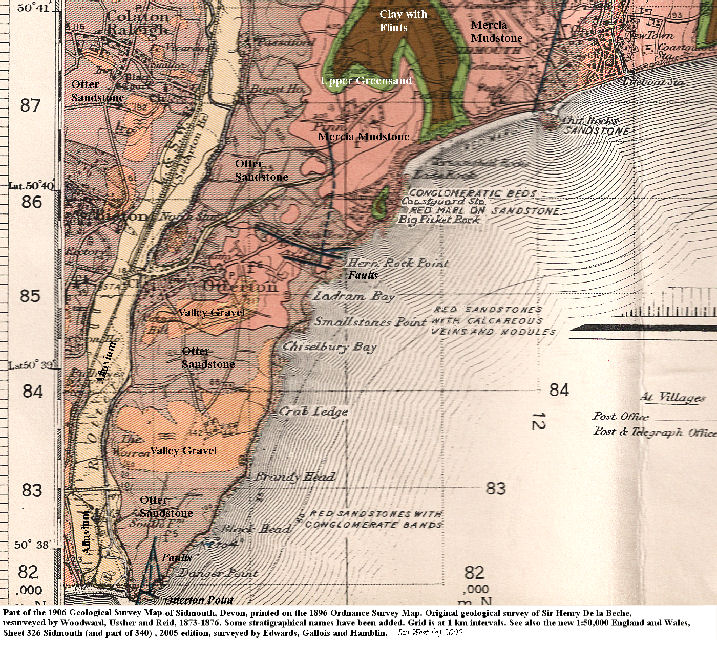 Part of the old geological map of Sidmouth, Devon, 1906 edition, including the area around Ladram Bay, East Devon