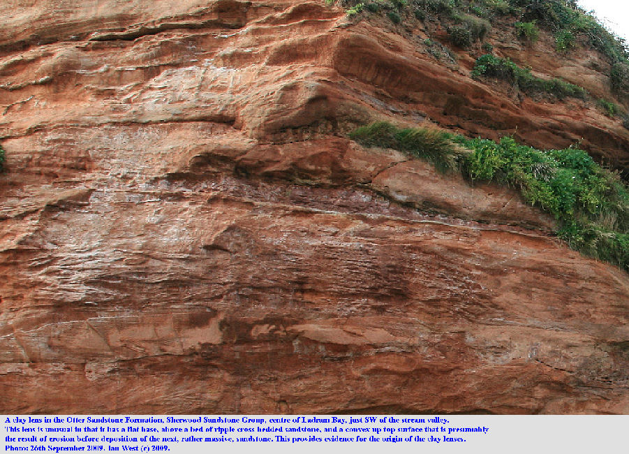 A clay lens with a flat base and an eroded top, Otter Sandstone Formation, Sherwood Sandstone Group, near the centre of Ladram Bay, East Devon