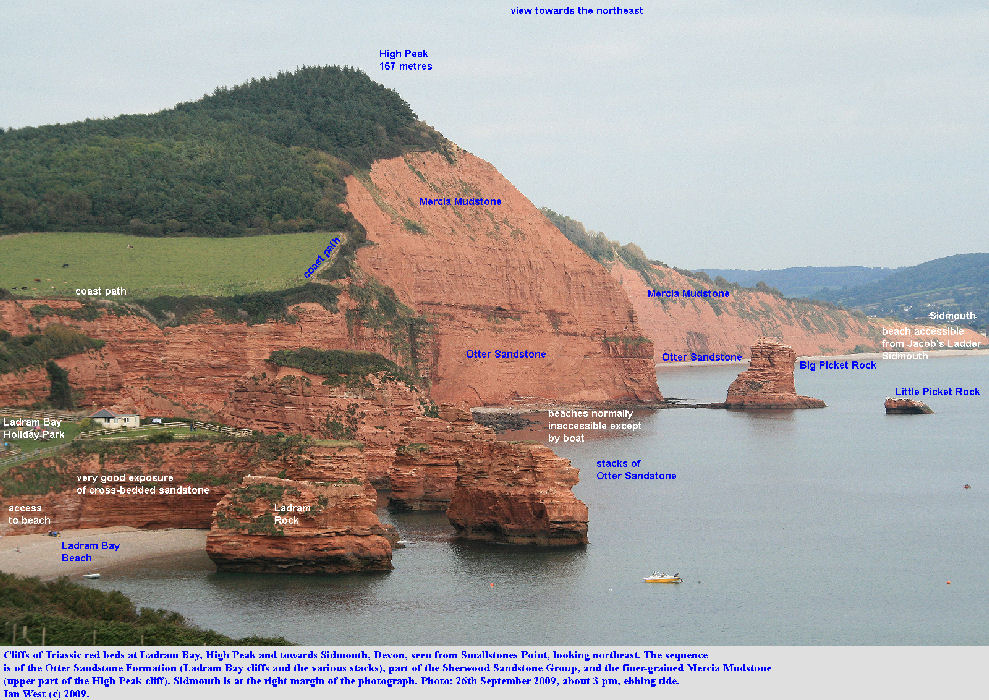 Red Triassic cliffs of Devon, England - view of Ladram Bay, High Peak and towards Sidmouth, 26th September 2009 - labelled version