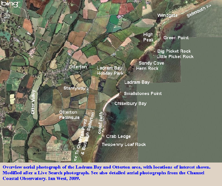 An overview aerial photograph of Ladram Bay, Otterton and adjacent area,  East Devon, for location purposes