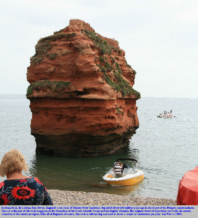 Ladram Rock, a sea stack of Triassic Otter Sandstone at Ladram Bay, East Devon, England