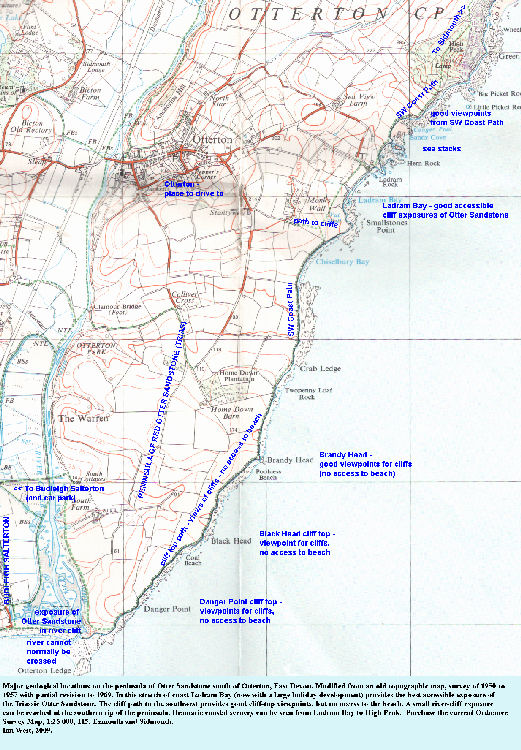 A topographic and location map of the coast between High Peak, near Ladram Bay, and Otterton Ledge at the mouth of the River Otter, East Devon, showing sites of geological interest