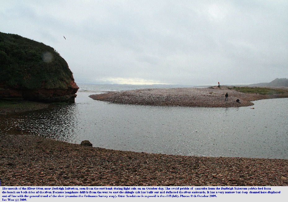 The mouth of the River Otter seen from the eastern side, near Budleigh Salterton, East Devon, October 2009